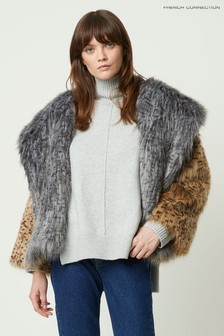 French Connection Camel Blaire Faux Fur Hooded Coat