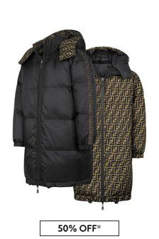Kids Black Reversible Down Padded Coat