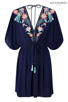 Accessorize Navy Palm Leaf Embroidered Kaftan