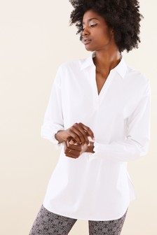 Pure Collection White Cotton Smocked Cuff Shirt