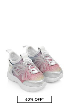 Sophia Webster Girls Silver & Pastel Fly-By Trainers