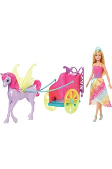 Barbie Dreamtopia Princess Doll with Fantasy Horse & Chariot