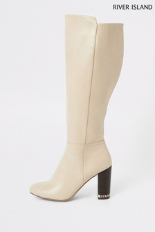 River Island Beige Eager Block Heel Over The Knee Boots