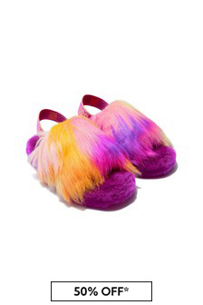 UGG Girls Purple Fluff Yeah Tie Dye Slippers
