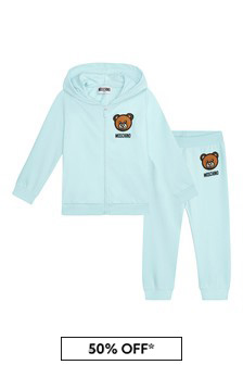 Moschino Kids Baby Boys Blue Cotton Tracksuit