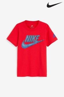 Nike Little Kids Red Block Logo T-Shirt