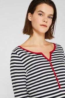 Esprit Blue Contrast Strip Long Sleeve Shirt