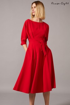 Phase Eight Red Cleo Belted Dress