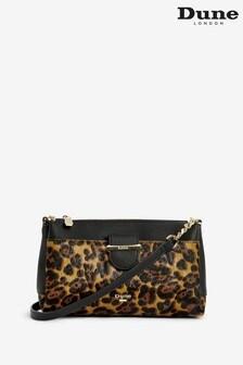 Dune London Darlena Leopard Print Leather Small Front Tab Crossbody Bag