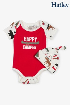 Hatley Red Happy Camper Baby Bodysuit With Hat