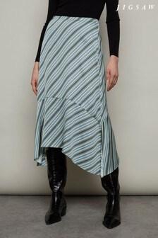 Jigsaw Blue Multi Stripe Handkerchief Midi Skirt