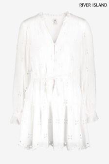 River Island White Broderie Smock Mini Dress