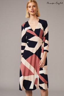 Phase Eight Blue Nelly Abstract Printed Wrap Dress