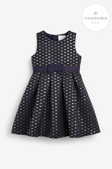 Charabia Navy Bow Jacquard Dress