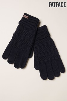 FatFace Blue Zig Zag Knit Gloves
