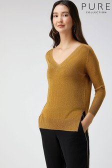 Pure Collection Gold Sparkle V-Neck Sweater