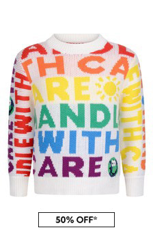 Kids Ivory Handle With Care Jumper
