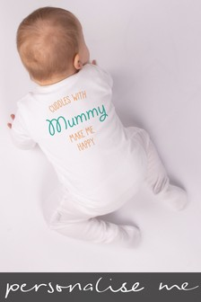 Personalised Cuddles Make Me Happy Sleepsuit