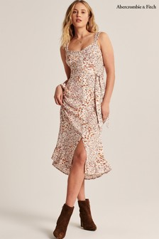 Abercrombie & Fitch White Floral Ruffle Dress