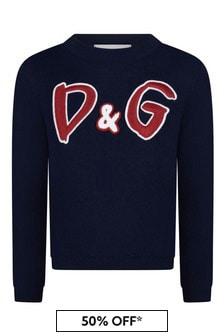 Dolce & Gabbana Kids Girls Navy Cotton D&G Print Jumper