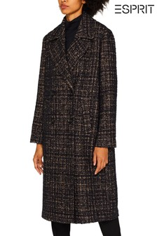 Esprit Brown Double Breasted Bouclé Coat
