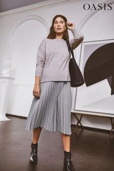Oasis Check Dogtooth Pleated Midi Skirt