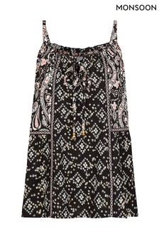 Monsoon Black Foil Print Cami