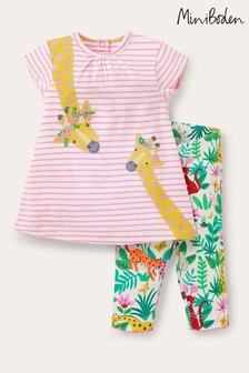 Boden Natural Appliqué Dress And Leggings Set