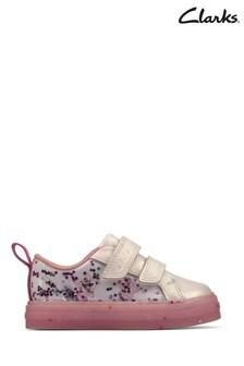 Clarks Silver Nova Glitter T Shoes