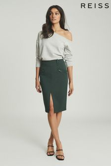 Reiss Green Kassidy Pencil Skirt With Zip Detail