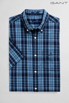 GANT Blue Tech Prep Broadcloth Indigo Check Short Sleeve Shirt