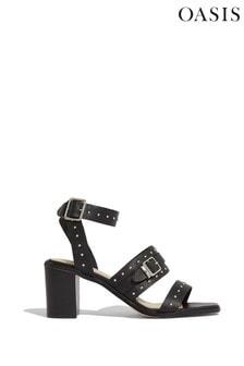 Oasis Black Studded Strap Sandals