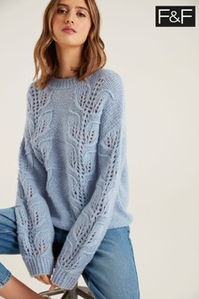 F&F Leaf Stitch Blue Jumper