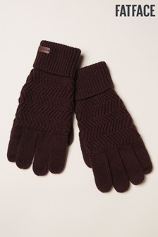 FatFace Red Zig Zag Knit Gloves