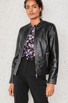Premium Collarless Leather Jacket