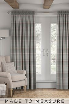 Marlow Check Grey/Pink Made To Measure Curtains