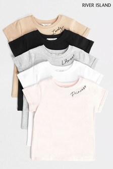 River Island Light Pink T-Shirt Five Pack