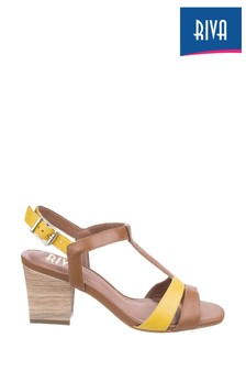 Riva Brown Hot Heels Palmira T-Bar Sandals