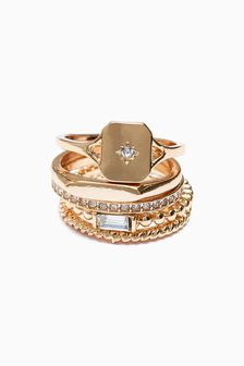Sparkle Signet Rings 5 Pack