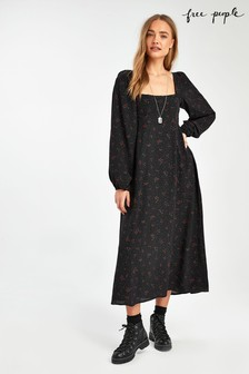 Free People Black Ditsy Floral Midi Dress
