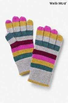 Szare kaszmirowe rękawiczki w paski White Stuff