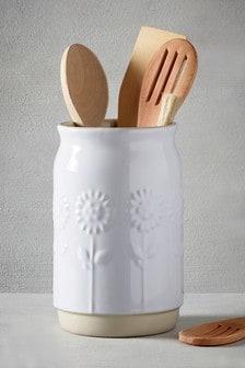 Embossed Flower Utensil Pot