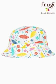 Frugi White GOTS Organic Parasol And Chambray Reversible Sun Hat