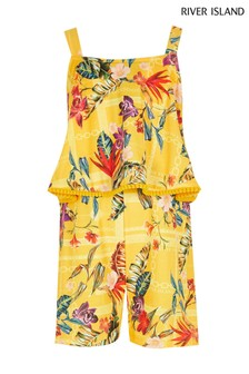 River Island Yellow Double Layer Playsuit