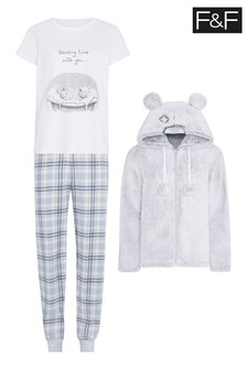 F&F Grey Tatty Teddy 3 Piece Set