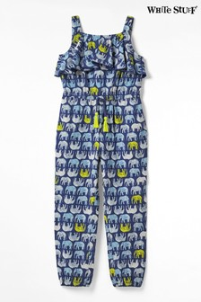 White Stuff Blue Kids Ellie Elephant Jersey Jumpsuit