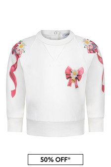 Monnalisa Baby Girls Ivory Cotton Bow Sweater