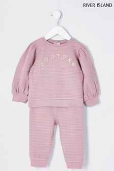 River Island Pink Quilted Couture Puff Sleeve Top And Leggings Set