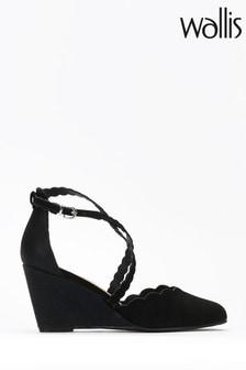 Wallis Black Cross Strap Wedge Court Shoes