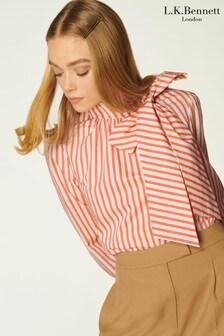 L.K. Bennett White Ruby Stripe Cotton Blouse